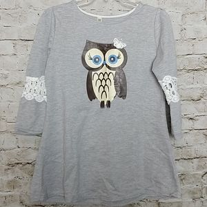Owl Top Size Large Gray  Lace